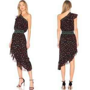 Joie Hafsa One-Shoulder Print Silk Dress